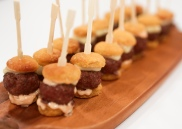 Micro Burgers, special sauce, homemade biscuit buns