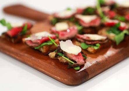 Tenderloin, Arugula, Parmesan Crostini